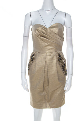 Matthew Williamson Gold Jacquard Corseted Bodice Embellished Dress S