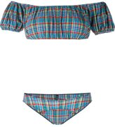 Lisa Marie Fernandez Leandra Off-Shoulder Plaid Bikini