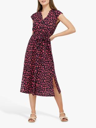 Monsoon Laurena Animal Print Shirt Dress, Navy/Red