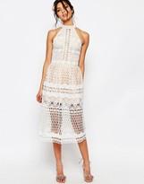 Jarlo Selma Halter Neck Cut Out Lace Midi Dress
