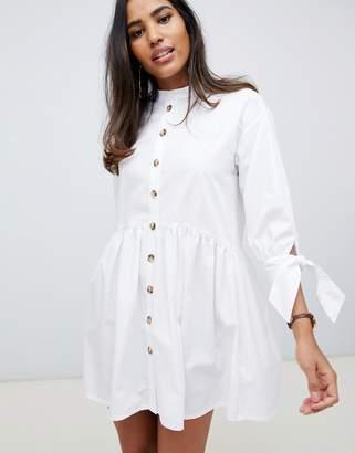 Asos DESIGN grandad collar button through mini smock dress with tie sleeve