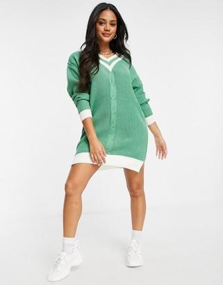 Liquorish premium oversized jumper dress with varsity stripes in sage green