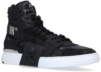 Philipp Plein Crystal-Embellished Phantom Kick$ Sneakers