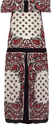 RED Valentino Off-the-shoulder Printed Silk Crepe De Chine Midi Dress