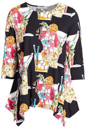 Caroline Rose, Plus Size Pool Party Stretch Knit Handkerchief Tunic
