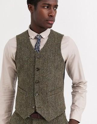 ASOS DESIGN slim suit waistcoat in 100% wool Harris Tweed in brown herringbone