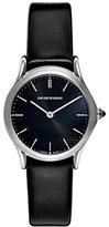 Emporio Armani Swiss Made Women's Quartz Stainless Steel and Leather Dress Watch, Color:Black (Model: ARS7012)