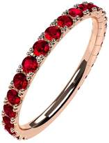 Nana Silver Stackable Ring All Round Rose Gold Flashed - Size 8 - Simulated Ruby - July Birthstone