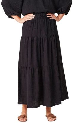French Connection Cotton Crinkle Tiered Skirt