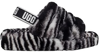 UGG Fluff Yeah Zebra-Print Sheepskin Slingback Slippers