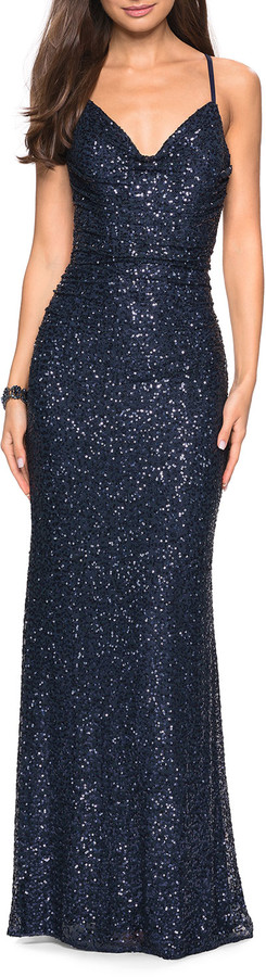 La Femme Sleeveless Ruched Sequin Gown with Open Strappy-Back