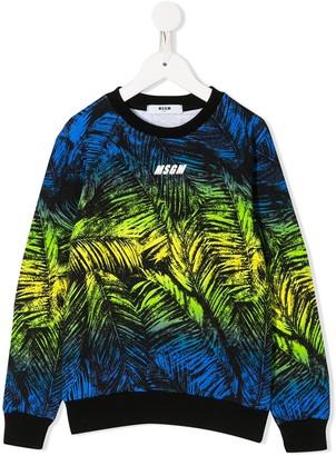 Msgm Kids Logo Leaf Print Sweatshirt