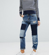 Noisy May Petite Girlfriend Patchwork Jeans