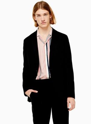 Topman Black Jersey Single Breasted Skinny Fit Blazer With Notch Lapels