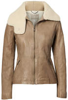 Banana Republic Heritage Shearling Funnel-Neck Leather Jacket
