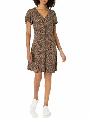 Goodthreads Amazon Brand Women's Fluid Twill Button-Front Fit-and-Flare Dress