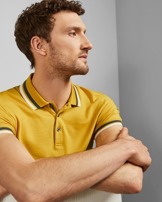 Ted Baker Rib Detail Cotton Polo Shirt