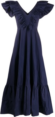 P.A.R.O.S.H. Ruflle Trimmed V-Neck Dress