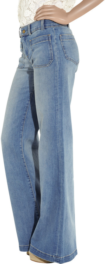 Current/Elliott The Navy high-rise wide-leg jeans