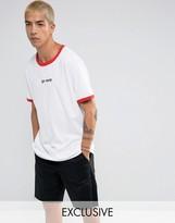 Reclaimed Vintage Inspired Ringer T-Shirt With Go Away Slogan