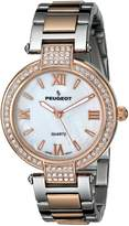 Peugeot Women's 7084TTR Crystal-Accented Stainless Steel Watch with Link Bracelet