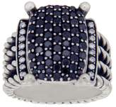 David Yurman 925 Sterling Silver Black & White Diamond Wheaton Cable Ring 5.5