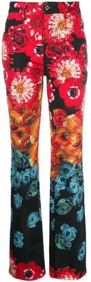 Just Cavalli Floral Print High-Rise Bootcut Jeans