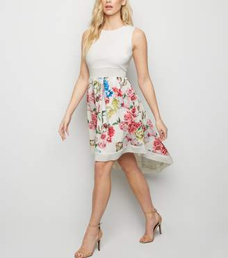 New Look Mela Floral Dip Hem Dress