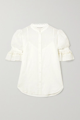 Apiece Apart Menina Crochet-trimmed Ruffled Embroidered Cotton-voile Shirt - Off-white