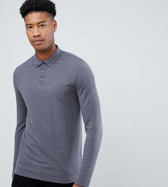 Asos Design DESIGN Tall long sleeve pique polo with button down collar in gray
