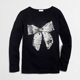 J.Crew Factory Girls' long-sleeve sequin bow keepsake T-shirt