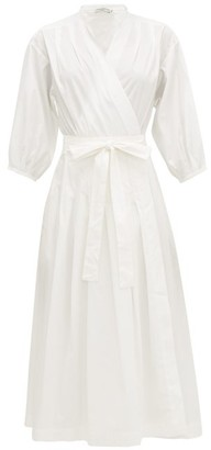 Three Graces London Delmare Cotton-poplin Wrap Dress - White