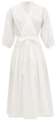 Three Graces London Delmare Cotton-poplin Wrap Dress - Womens - White