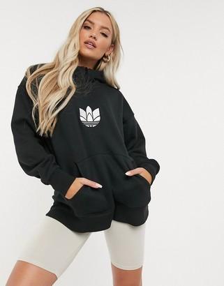 adidas 3D trefoil logo quarter-zip hoodie in black