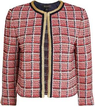 St. John Metallic Plaid Cropped Jacket