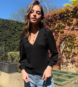 ASOS DESIGN Petite V neck jumper with volume sleeve