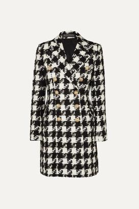 Balmain Double-breasted Houndstooth Tweed Coat - Black