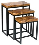 Crafted Home Argyle Brown Square Nesting Table