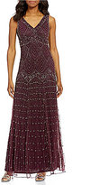 Pisarro Nights V-Neck Beaded Gown