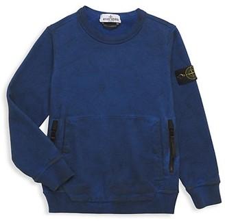 Stone Island Little Boy's & Boy's Zip-Pocket Fleece Sweatshirt