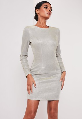 Missguided Sofia Richie X Silver Metallic Bodycon Mini Dress