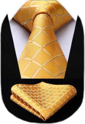 HISDERN Check Wedding Tie Handkerchief Men's Necktie & Pocket Square Set (Navy Blue)