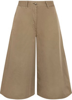 MM6 MAISON MARGIELA Cropped Wide-leg Cotton Pants - Army green