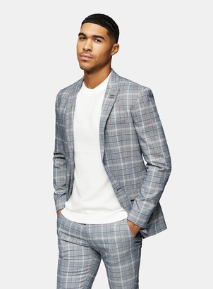 Topman Navy Check Skinny Fit Single Breasted Suit Blazer With Notch Lapels