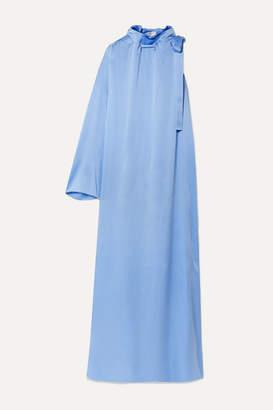 Rosetta Getty Tie-neck One-sleeve Satin Maxi Dress - Blue