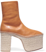 Balenciaga Leather Platform Boots - Tan