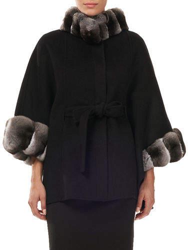 Gorski Belted Cashmere Cape Coat w/ Chinchilla Collar & Cuffs