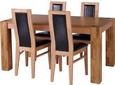 Living Collection Warwick Oak Veneer Table & 4 Chairs - Chocolate