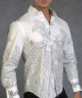 Rebel Spirit White 'Rebel Spirit' Embroidery Cuff Button-Up - Men's Regular