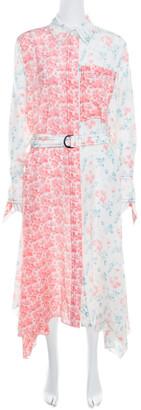 Joseph Pastel Peony Printed Silk Handkerchief Hem Belted Cyprien Shirt Dress M